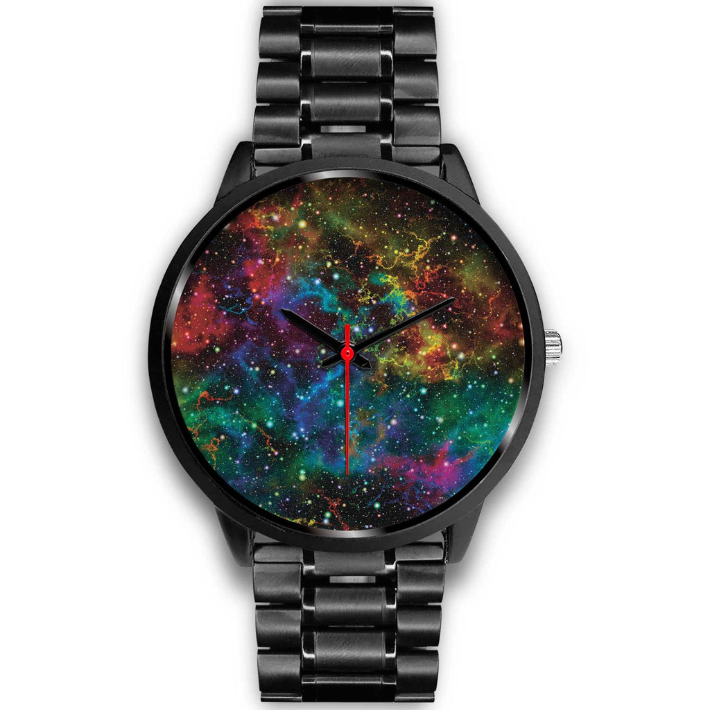 Abstract Colorful Galaxy Space Print Black Watch GearFrost