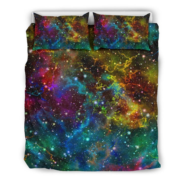 Abstract Colorful Galaxy Space Print Duvet Cover Bedding Set GearFrost