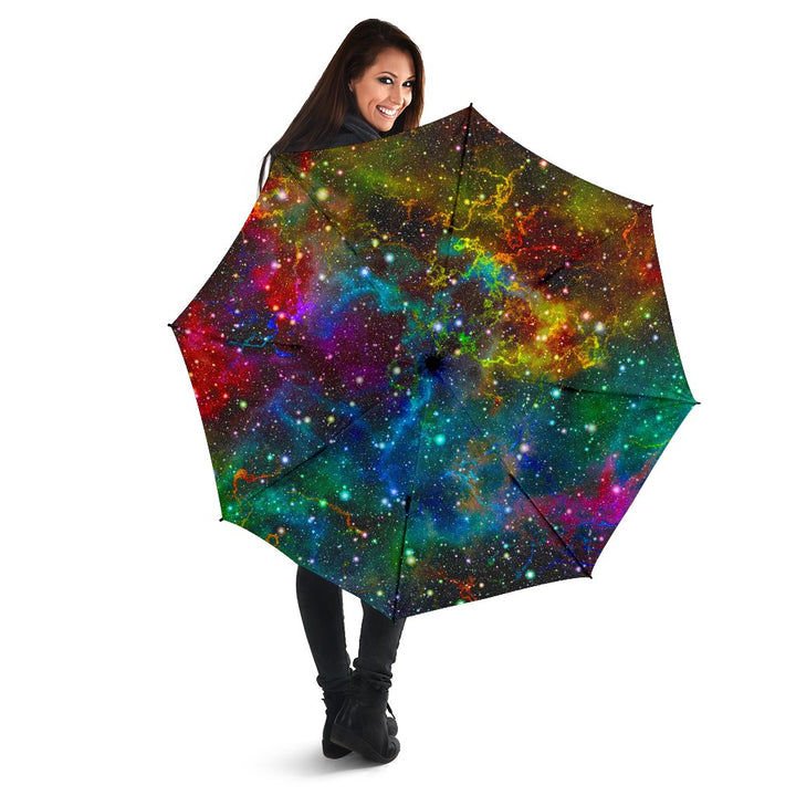 Abstract Colorful Galaxy Space Print Foldable Umbrella GearFrost