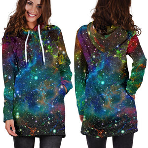 Abstract Colorful Galaxy Space Print Hoodie Dress GearFrost