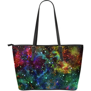 Abstract Colorful Galaxy Space Print Leather Tote Bag GearFrost