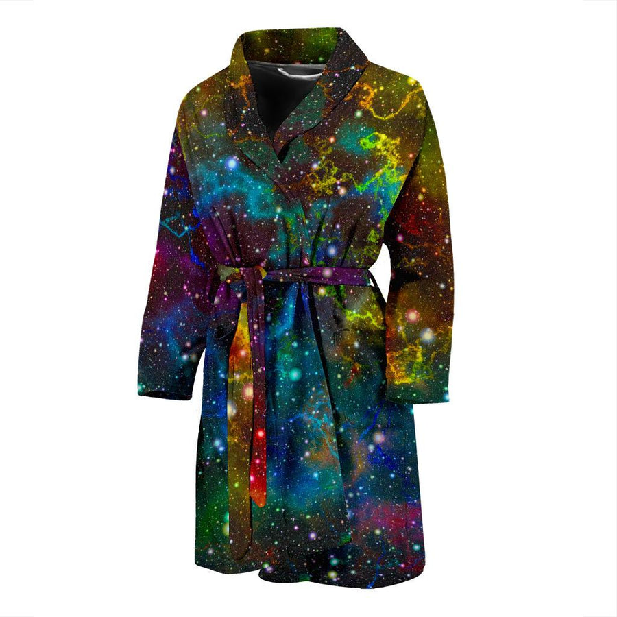Abstract Colorful Galaxy Space Print Men's Bathrobe GearFrost