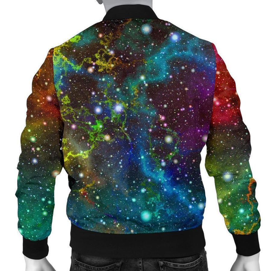 Abstract Colorful Galaxy Space Print Men's Bomber Jacket GearFrost