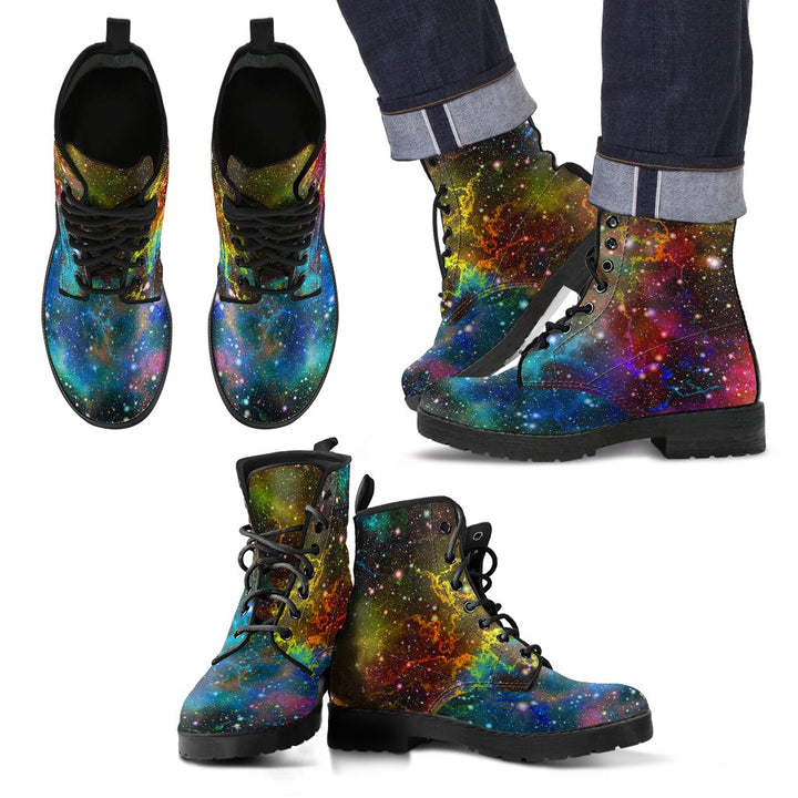 Abstract Colorful Galaxy Space Print Men's Boots GearFrost