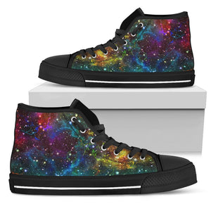 Abstract Colorful Galaxy Space Print Men's High Top Shoes GearFrost