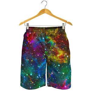 Abstract Colorful Galaxy Space Print Men's Shorts GearFrost