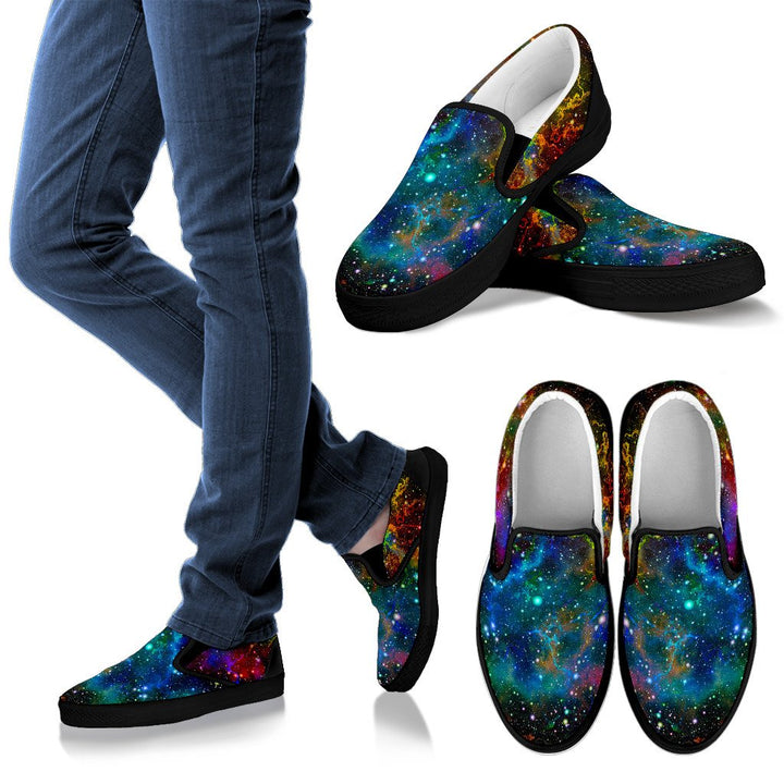 Abstract Colorful Galaxy Space Print Men's Slip On Shoes GearFrost