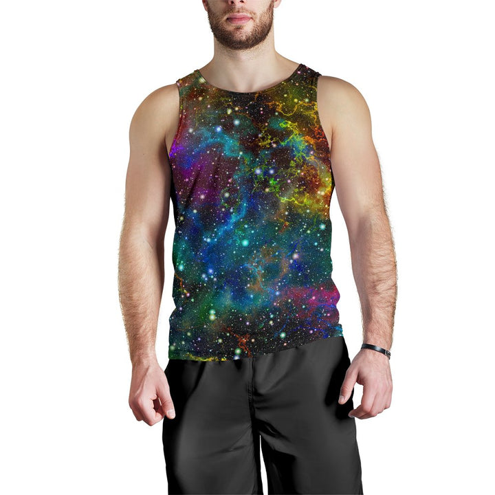 Abstract Colorful Galaxy Space Print Men's Tank Top GearFrost
