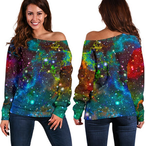Abstract Colorful Galaxy Space Print Off Shoulder Sweatshirt GearFrost
