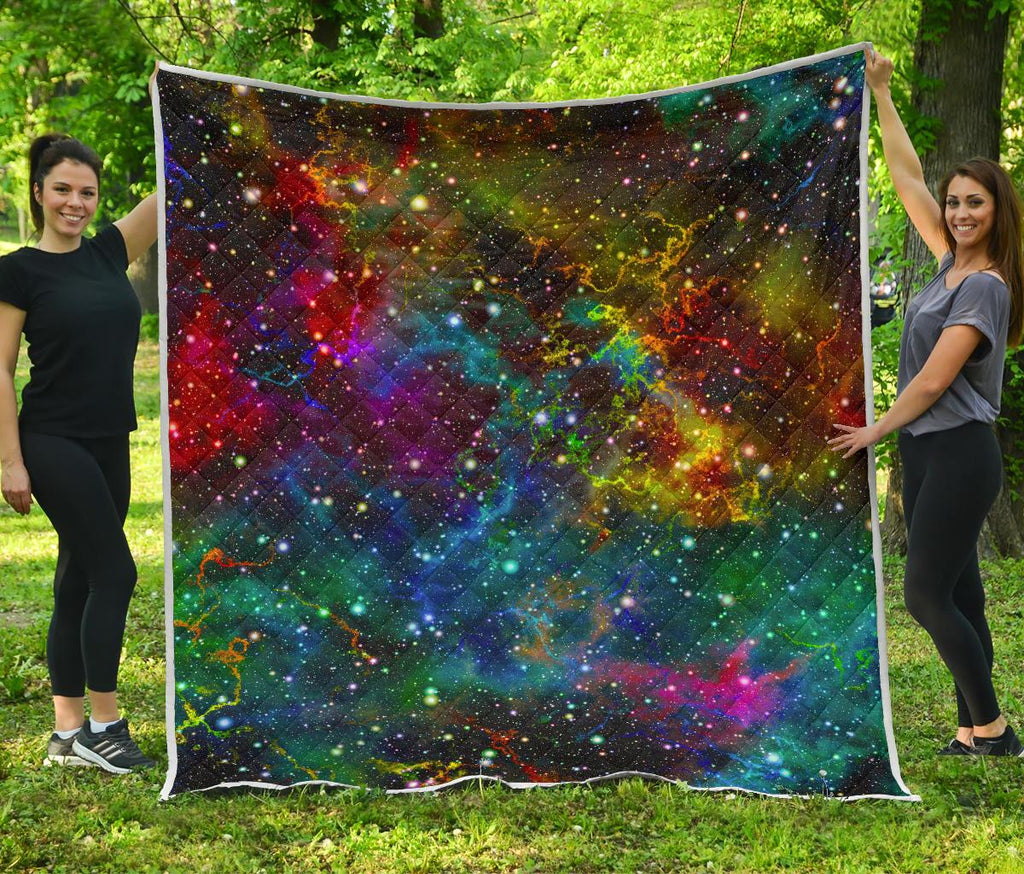 Abstract Colorful Galaxy Space Print Quilt GearFrost
