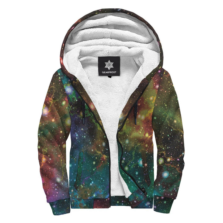 Abstract Colorful Galaxy Space Print Sherpa Lined Fleece Hoodie GearFrost