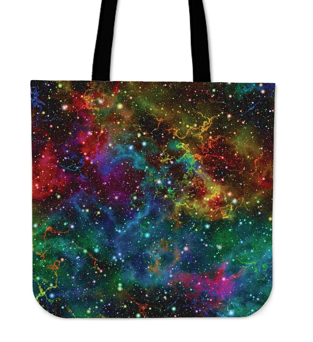 Abstract Colorful Galaxy Space Print Tote Bag GearFrost