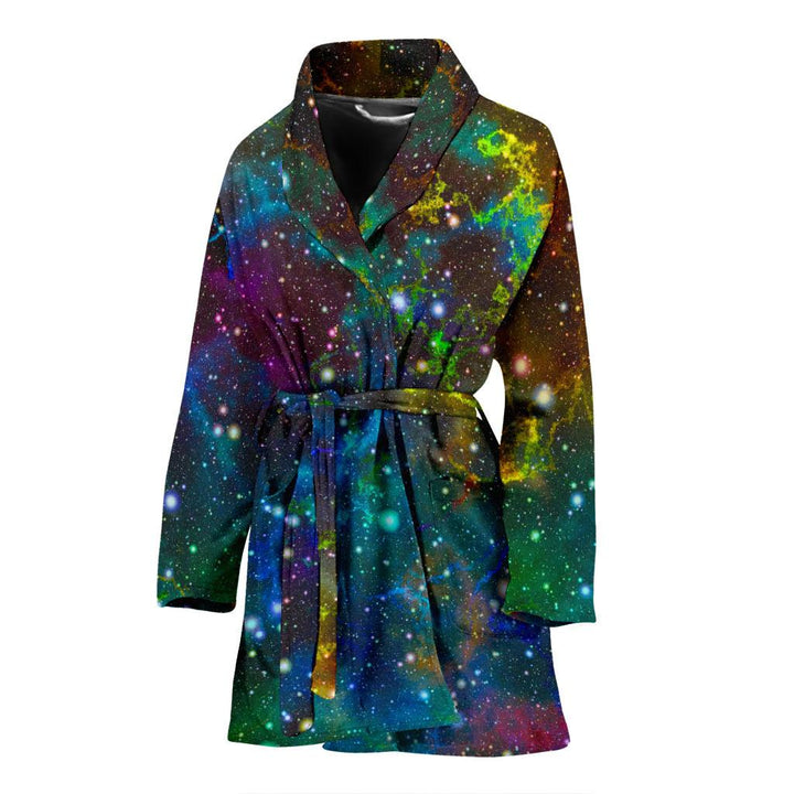 Abstract Colorful Galaxy Space Print Women's Bathrobe GearFrost