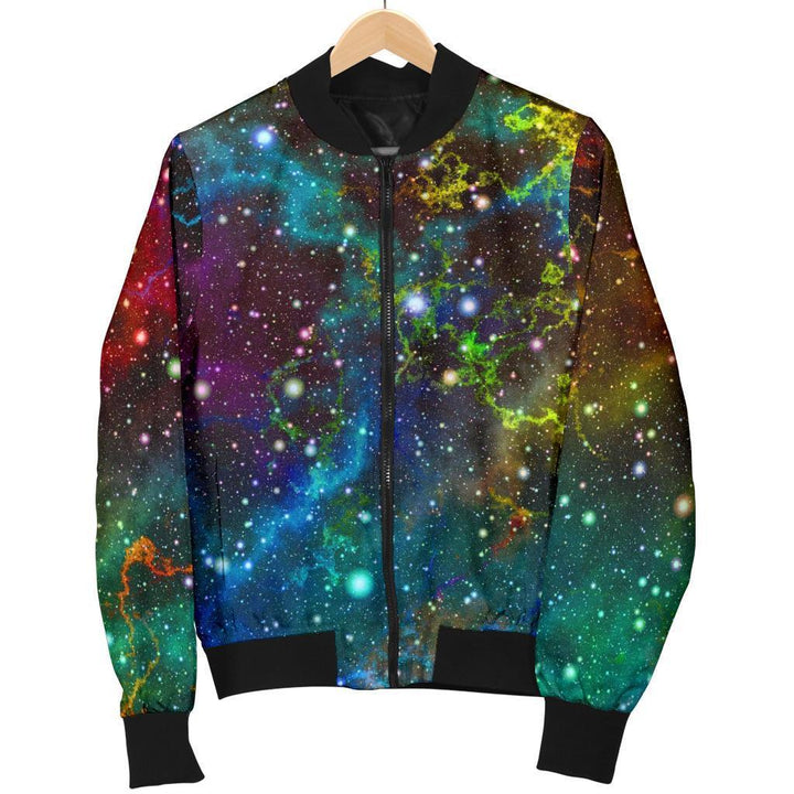 Abstract Colorful Galaxy Space Print Women's Bomber Jacket GearFrost