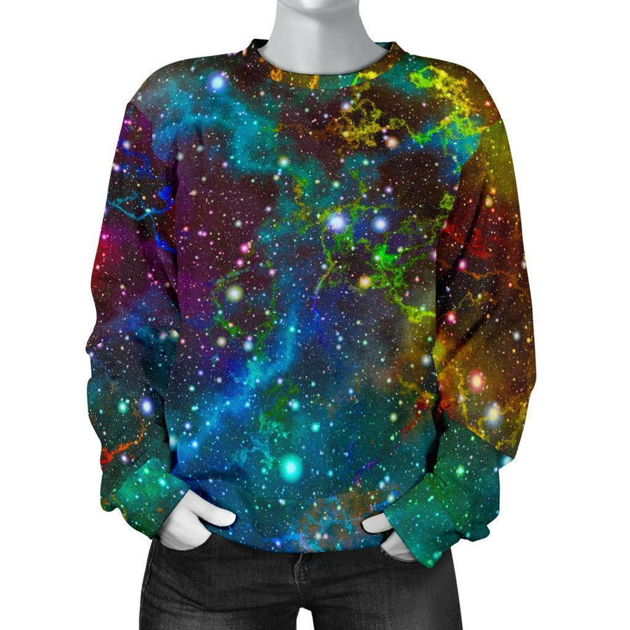 Abstract Colorful Galaxy Space Print Women's Crewneck Sweatshirt GearFrost