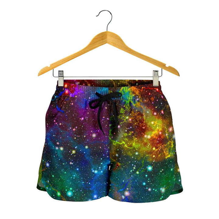 Abstract Colorful Galaxy Space Print Women's Shorts GearFrost