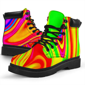 Abstract Colorful Liquid Trippy Print All Season Boots GearFrost