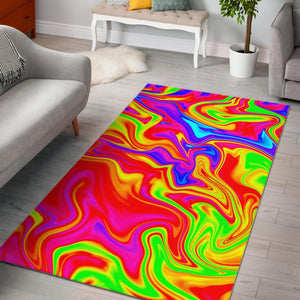Abstract Colorful Liquid Trippy Print Area Rug GearFrost