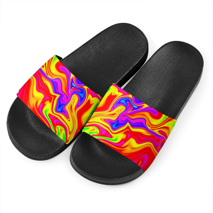 Abstract Colorful Liquid Trippy Print Black Slide Sandals GearFrost