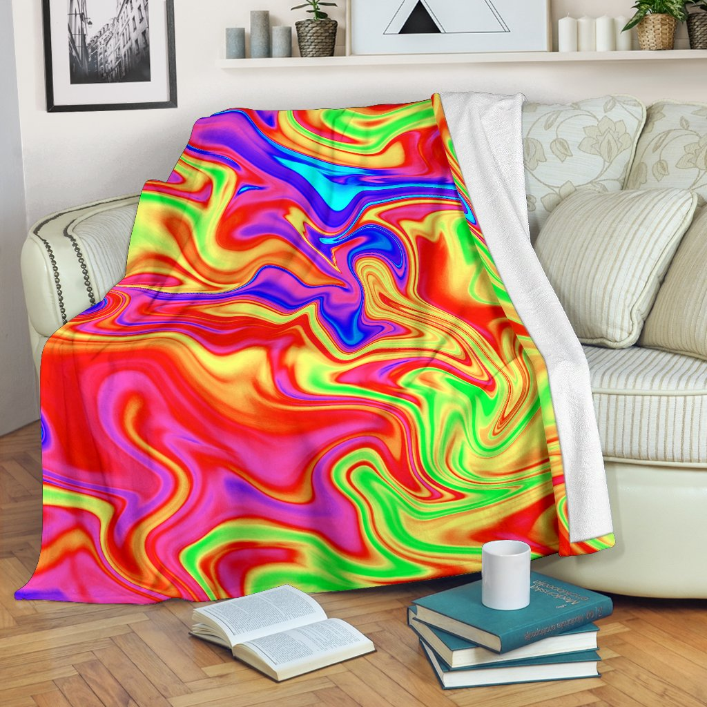 Abstract Colorful Liquid Trippy Print Blanket GearFrost
