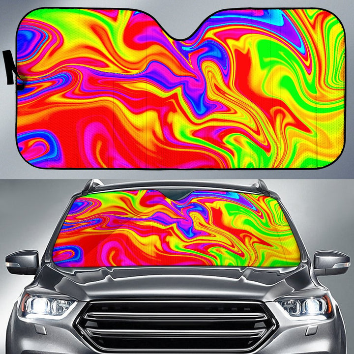 Abstract Colorful Liquid Trippy Print Car Sun Shade GearFrost