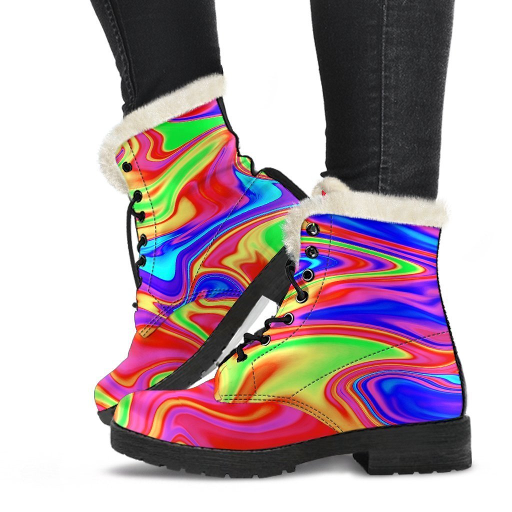 Abstract Colorful Liquid Trippy Print Comfy Boots GearFrost