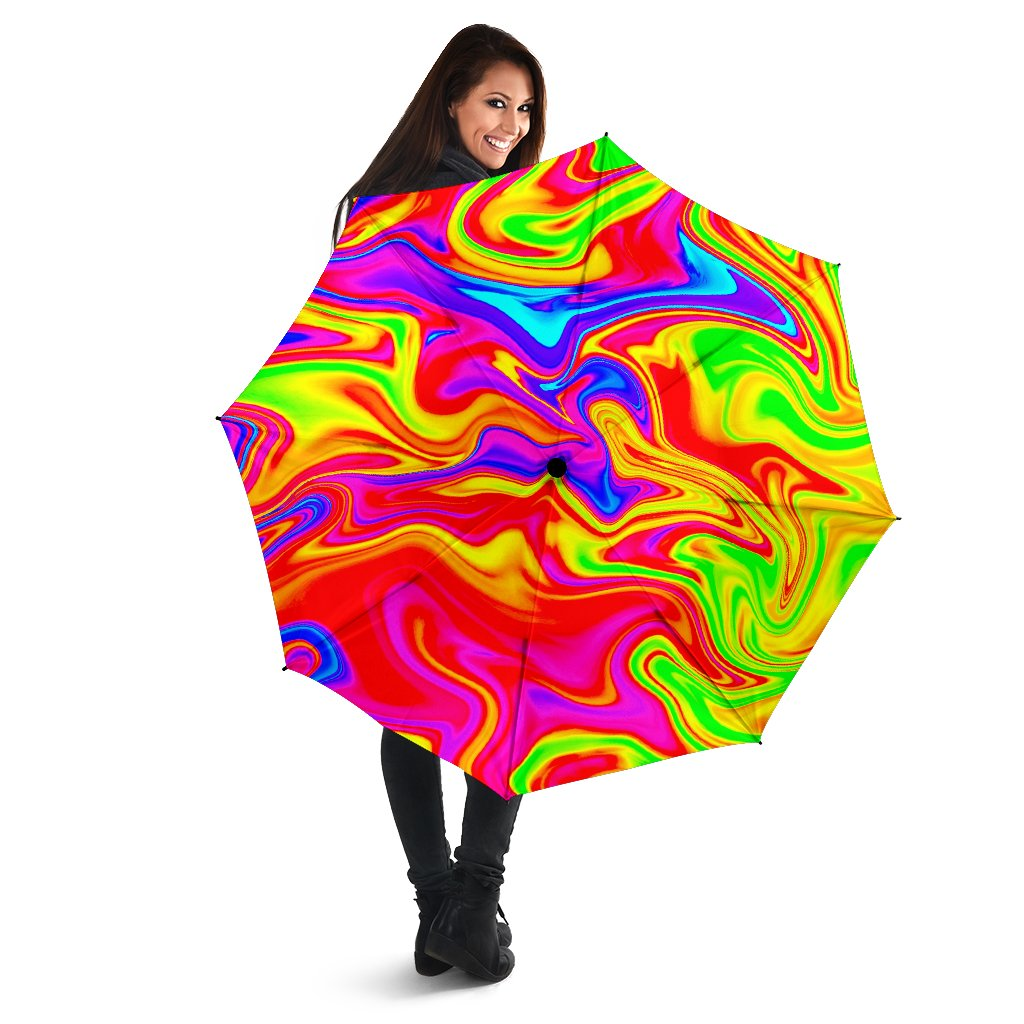 Abstract Colorful Liquid Trippy Print Foldable Umbrella GearFrost