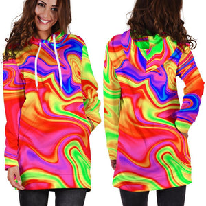 Abstract Colorful Liquid Trippy Print Hoodie Dress GearFrost
