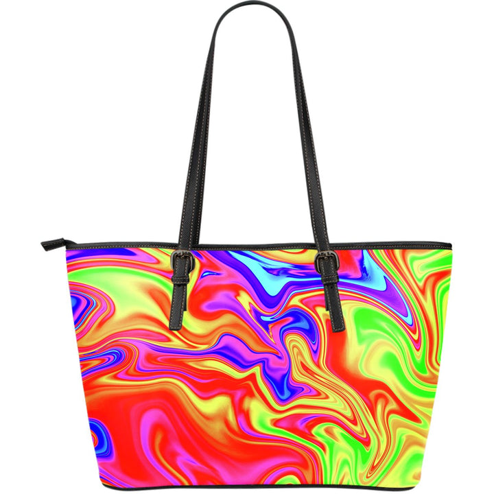 Abstract Colorful Liquid Trippy Print Leather Tote Bag GearFrost