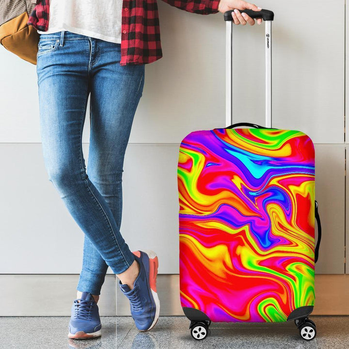 Abstract Colorful Liquid Trippy Print Luggage Cover GearFrost