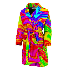 Abstract Colorful Liquid Trippy Print Men's Bathrobe GearFrost