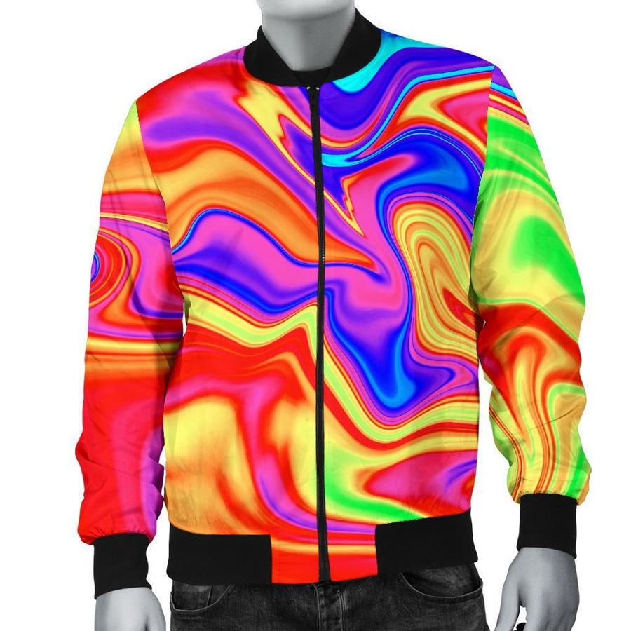 Abstract Colorful Liquid Trippy Print Men's Bomber Jacket GearFrost