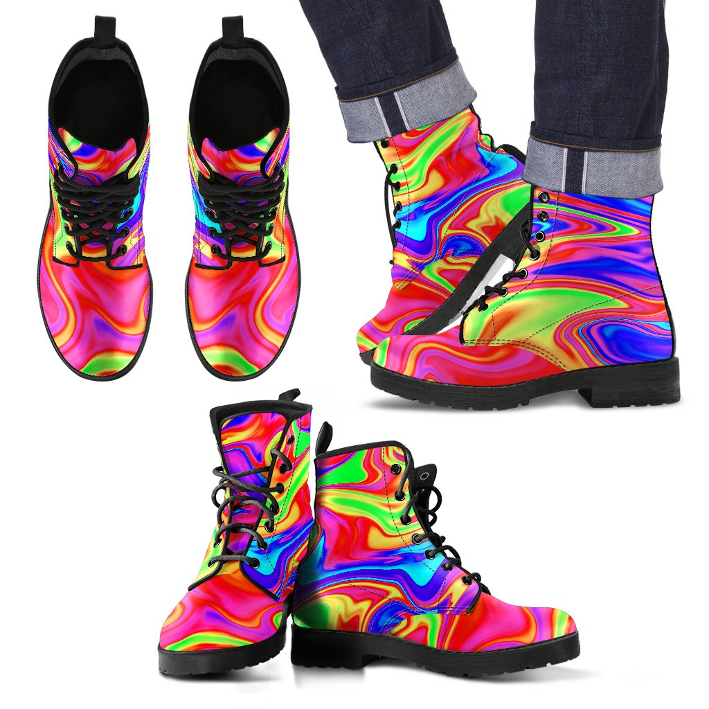 Abstract Colorful Liquid Trippy Print Men's Boots GearFrost