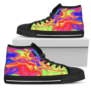 Abstract Colorful Liquid Trippy Print Men's High Top Shoes GearFrost