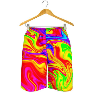 Abstract Colorful Liquid Trippy Print Men's Shorts GearFrost
