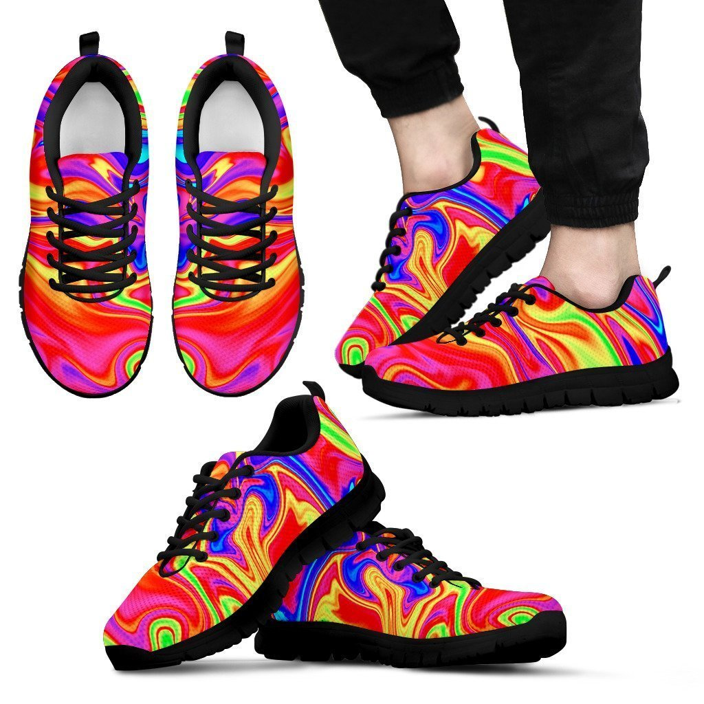 Abstract Colorful Liquid Trippy Print Men's Sneakers GearFrost