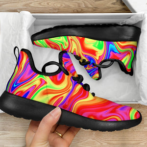 Abstract Colorful Liquid Trippy Print Mesh Knit Shoes GearFrost