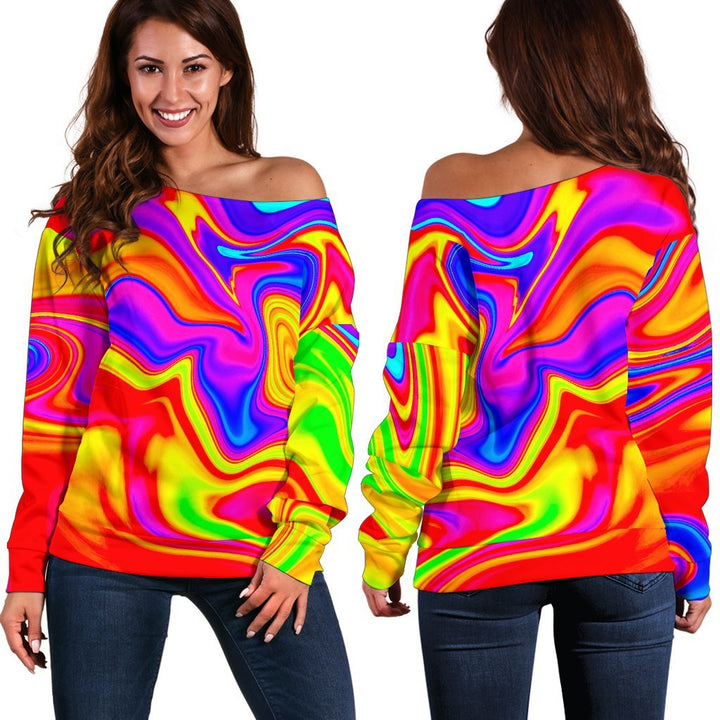 Abstract Colorful Liquid Trippy Print Off Shoulder Sweatshirt GearFrost