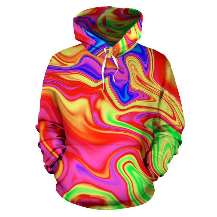 Abstract Colorful Liquid Trippy Print Pullover Hoodie GearFrost