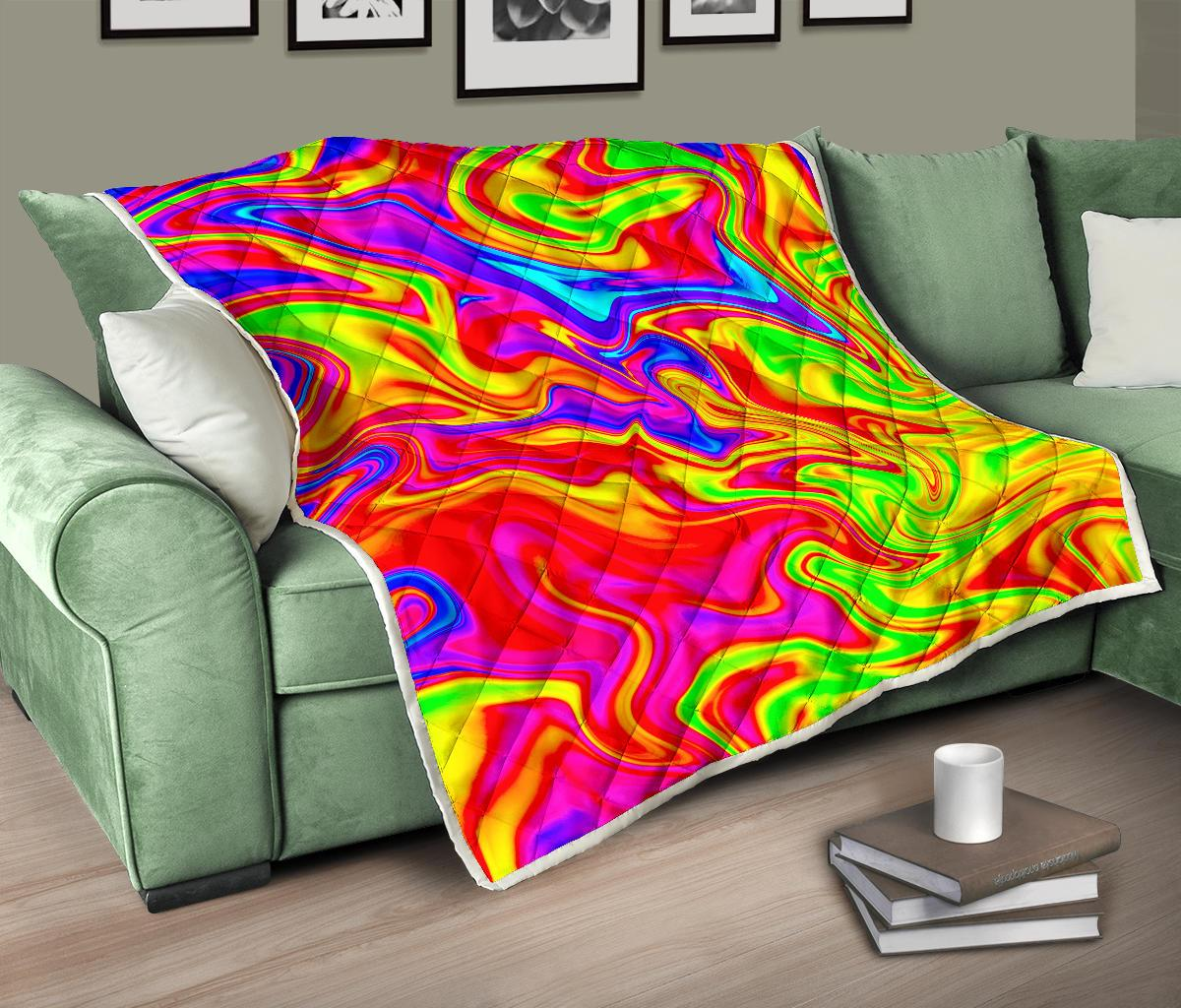 Abstract Colorful Liquid Trippy Print Quilt GearFrost