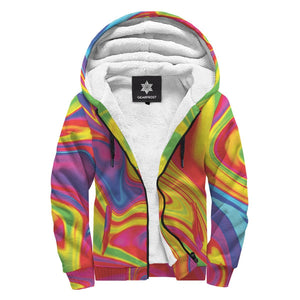 Abstract Colorful Liquid Trippy Print Sherpa Lined Fleece Hoodie GearFrost