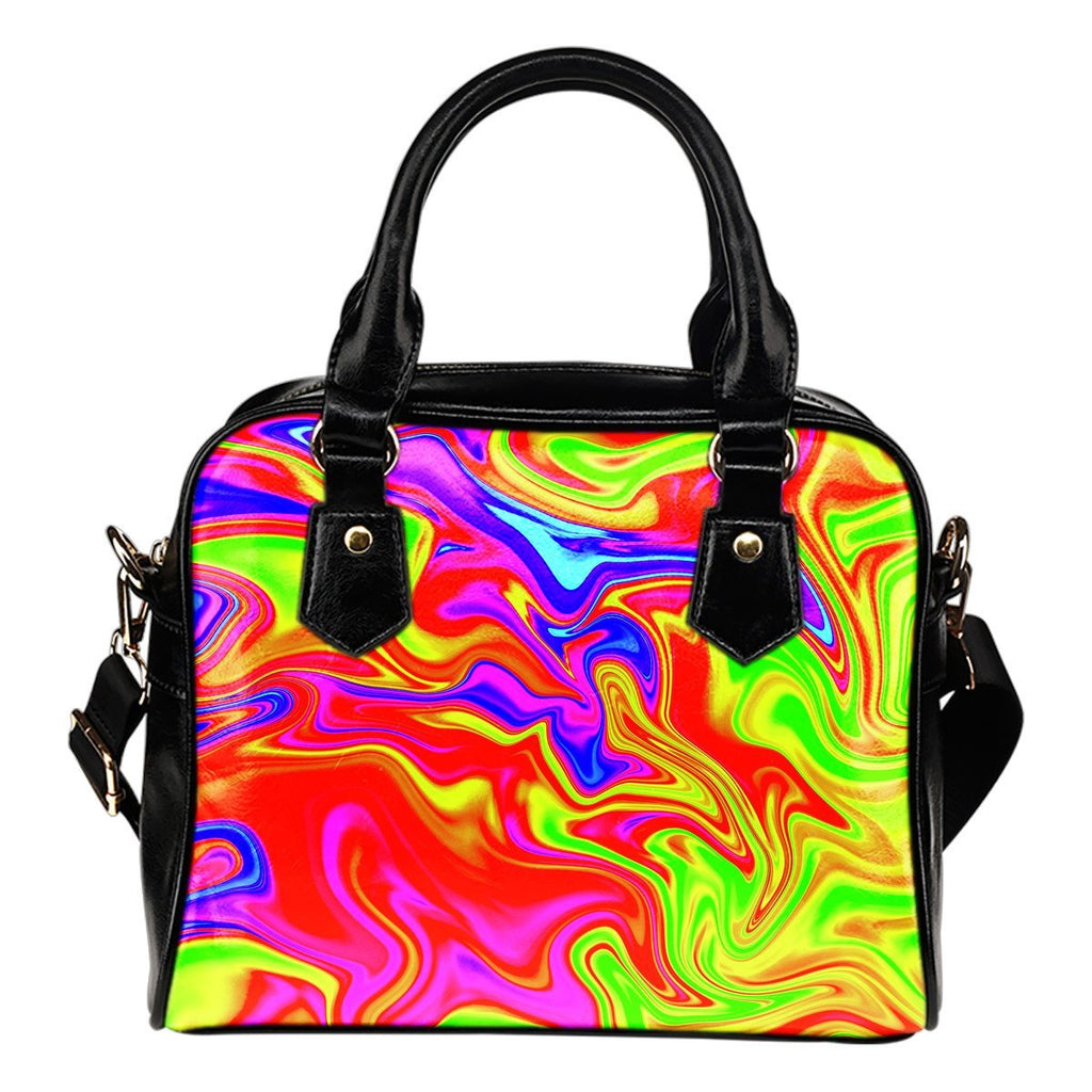 Abstract Colorful Liquid Trippy Print Shoulder Handbag GearFrost