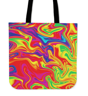 Abstract Colorful Liquid Trippy Print Tote Bag GearFrost