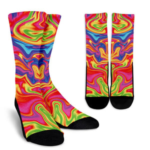 Abstract Colorful Liquid Trippy Print Unisex Crew Socks GearFrost