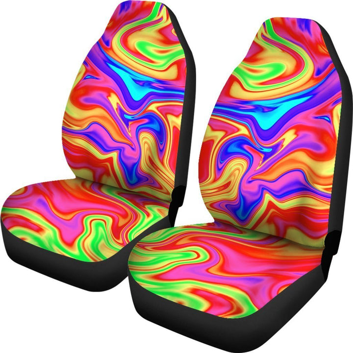 Abstract Colorful Liquid Trippy Print Universal Fit Car Seat Covers GearFrost