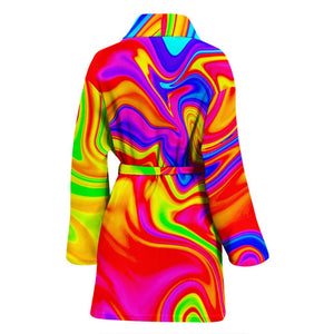 Abstract Colorful Liquid Trippy Print Women's Bathrobe GearFrost