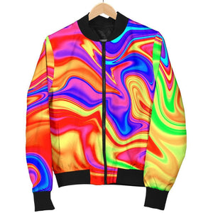 Abstract Colorful Liquid Trippy Print Women's Bomber Jacket GearFrost