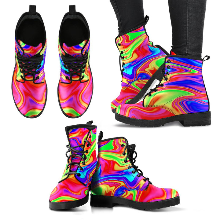 Abstract Colorful Liquid Trippy Print Women's Boots GearFrost