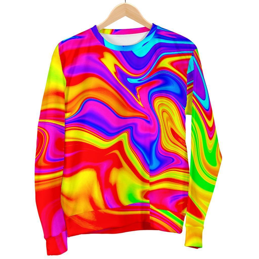 Abstract Colorful Liquid Trippy Print Women's Crewneck Sweatshirt GearFrost