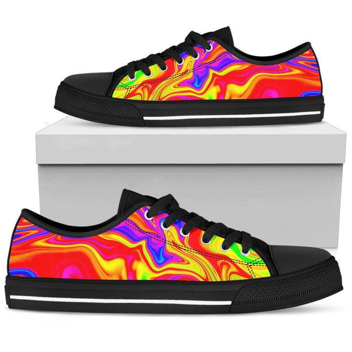 Abstract Colorful Liquid Trippy Print Women's Low Top Shoes GearFrost